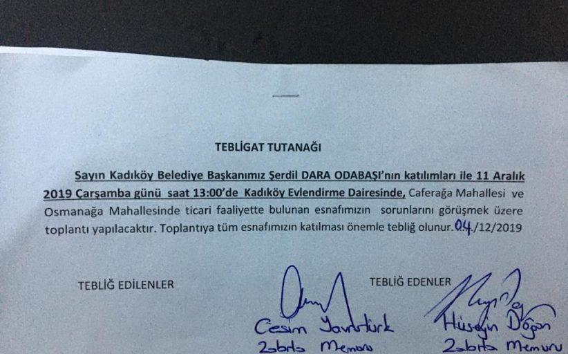 Kadıköy Belediyesi'nden Esnaf Toplantısı Daveti